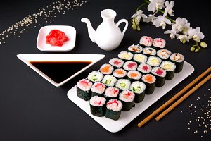 Sushi menu. Japanese food. Set of ma