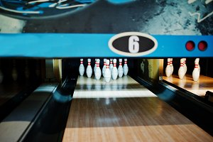 Close up of ten pins at bowling club