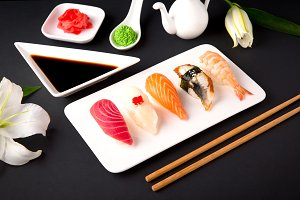Nigiri with salmon, tuna, perch, eel