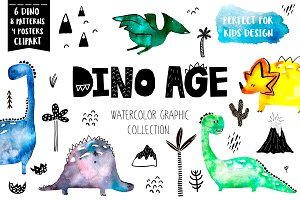 Dino Age watercolor childish set
