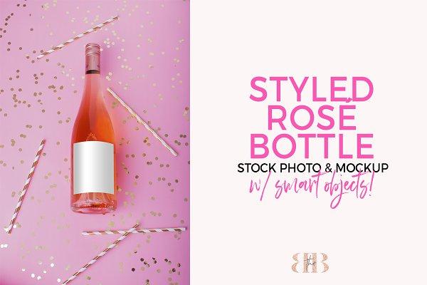 Rosé Wine Bottle Mockup Stock Photo