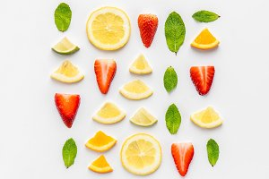 Composition of lemon and strawberry