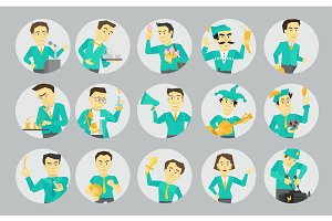 Set different character avatars in circles. Speaker politician and many others. Flat color vector illustration.