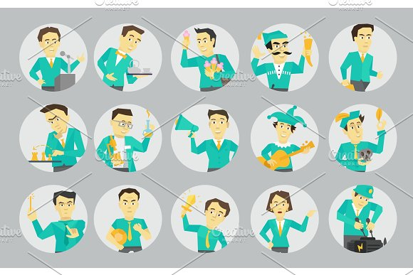Set Different Character Avatars In Circles Speaker Politician And Many Others Flat Color Vector Illustration