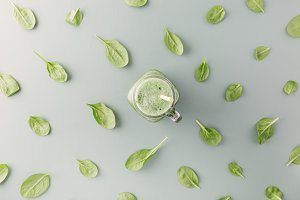 Green drink and leaves pattern