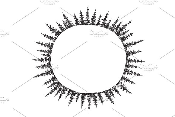 Sketch Round Of Spruce Trees Frame In Circle Drawing Three Sheets In Round On The Planet Place For Text Hand Drawn Sketch Vector Stock Black Line Illustration Landscape
