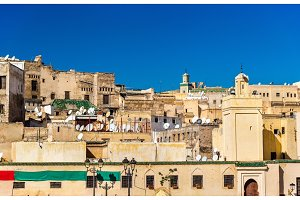 View of Fes Medina from Rcif Square, Morocco
