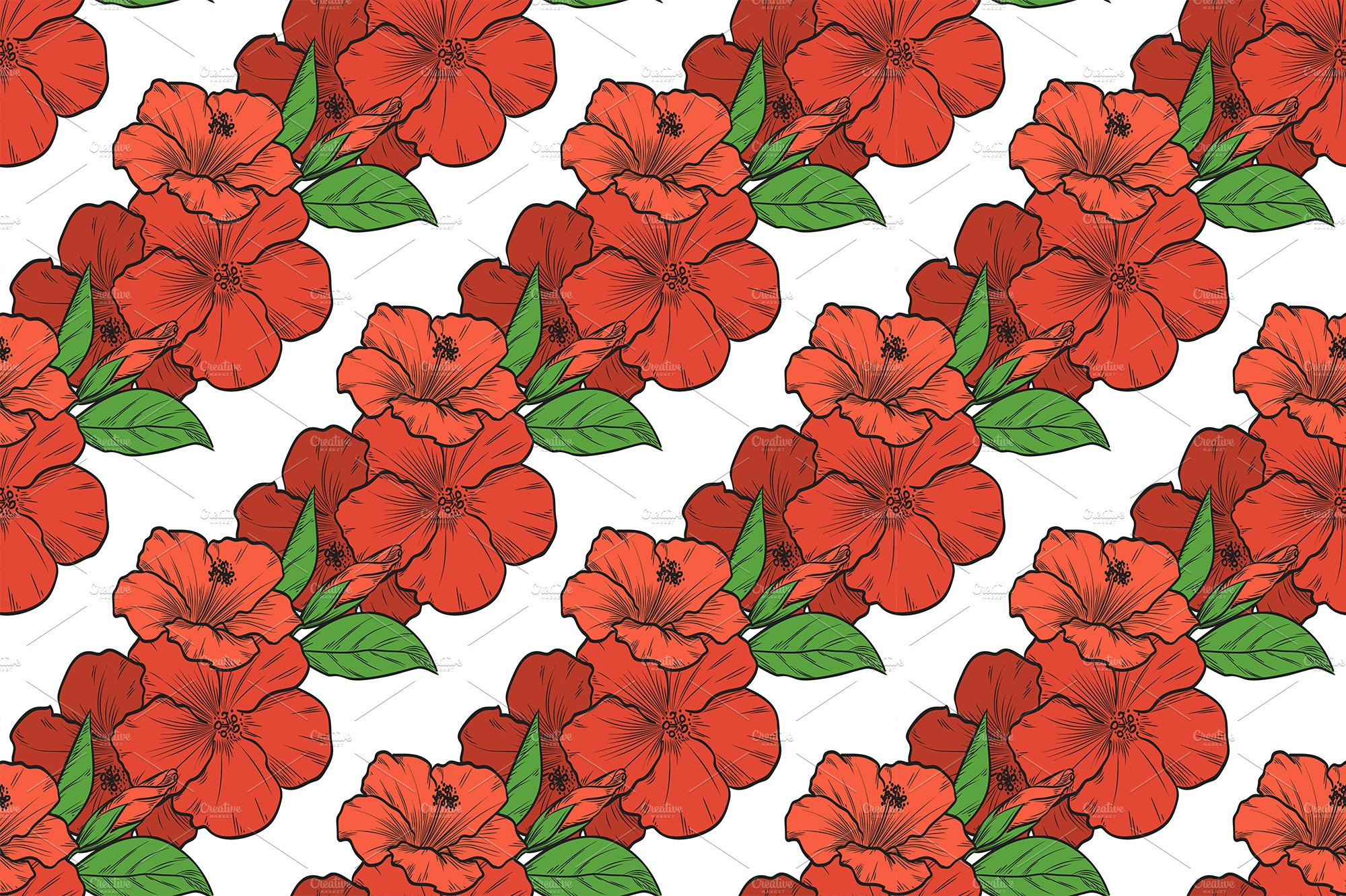 Vector color bouquet of hibiscus ~ Patterns ~ Creative Market