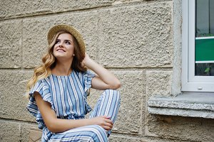 gorgeous model in striped overall