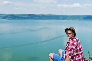 Hipster tourist man