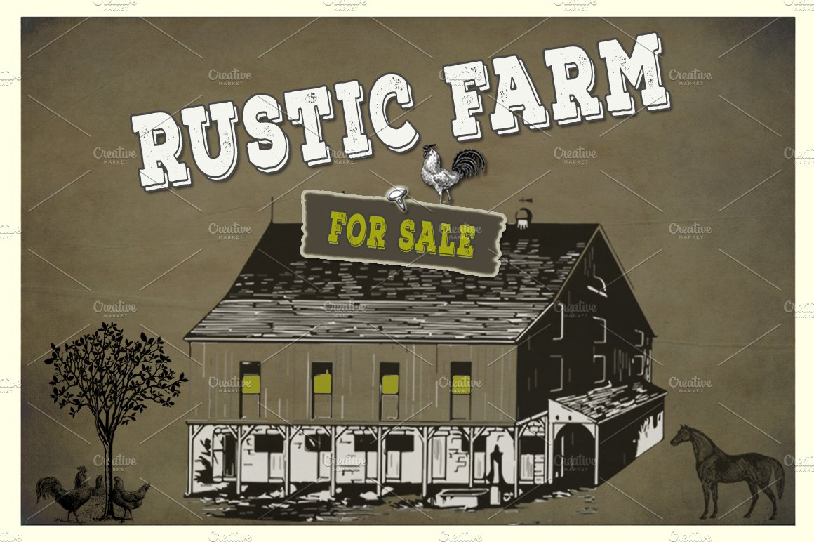 Rustic Farm Vector PNG Elements Illustrations Creative Market