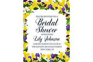 Bridal shower party or wedding ceremony invitation