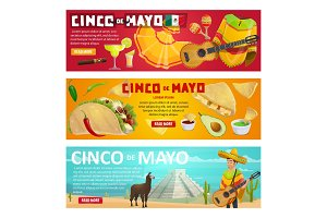 Cinco de Mayo greeting banner of mexican holiday