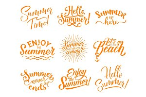 Hello Summer lettering for season holidays design