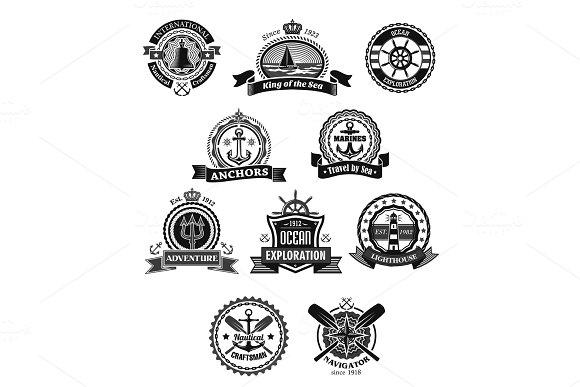 Nautical And Marine Isolated Heraldic Badge Set