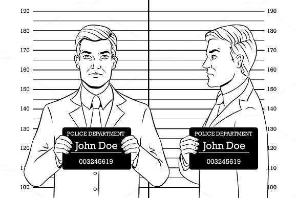 Arrested Man Photo In Police Coloring Book Vector