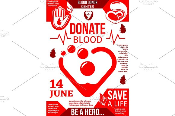 Blood Donor Center Banner With Red Drop And Heart