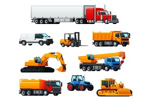 Road transport, heavy machinery and vehicle icon