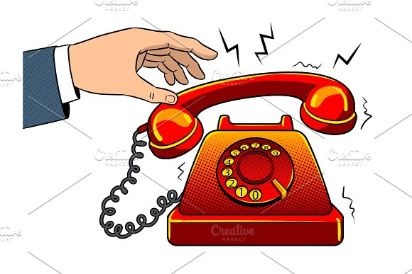 Red Hot Old Phone Pop Art Vector Illustration