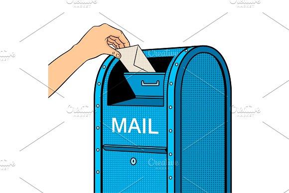 Sending Letter To Mail Box Pop Art Vector