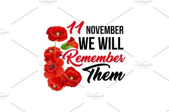 11 November Poppy Remembrance Day Vector Icons