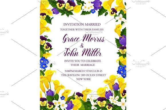 Wedding Invitation Card With Flower Bouquet