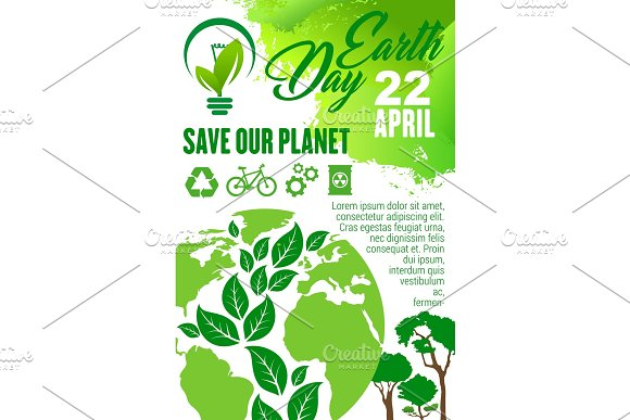 Earth Day And Save Planet Poster For Eco Concept