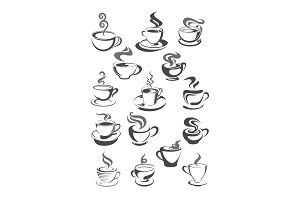 Coffee cups vector icons set for cafeteria or cafe