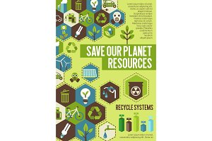 Save Planet resources banner for ecology concept