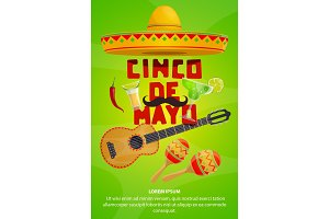 Cinco de Mayo mexican party greeting banner design