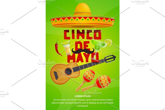 Cinco De Mayo Mexican Party Greeting Banner Design