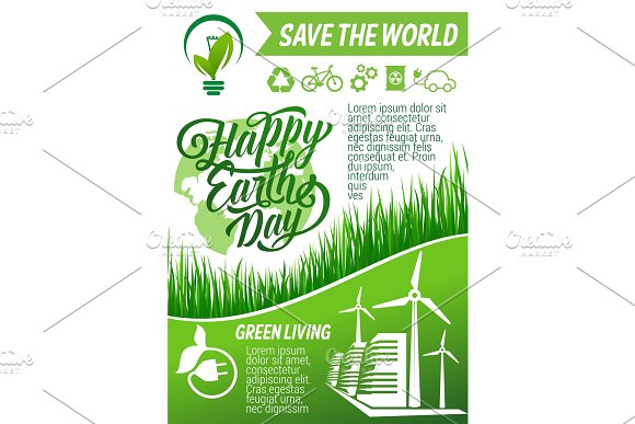 Happy Earth Day Greeting Banner Of Ecology Holiday