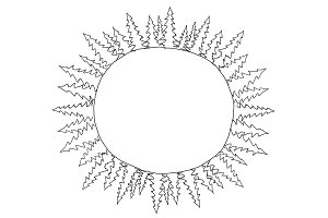 Sketch round of spruce trees frame in circle drawing three sheets in round on the planet. Place for text. Hand drawn sketch vector stock black line illustration landscape.