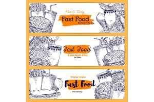 Fast food vector sketch banners