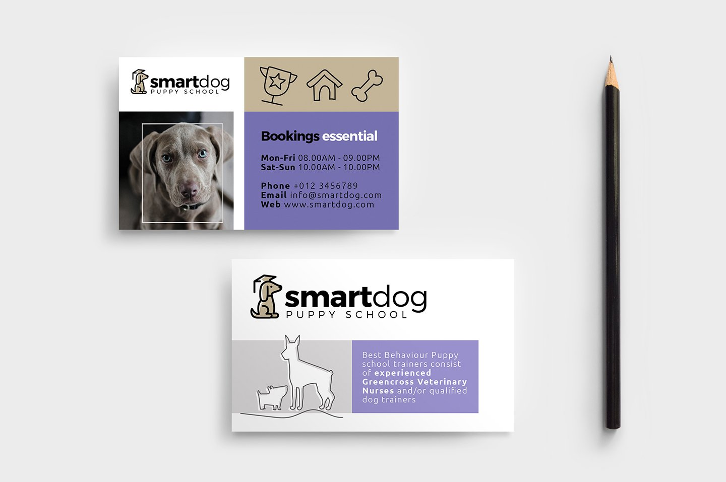 Puppy School Business Card Template ~ Business Card Templates ...