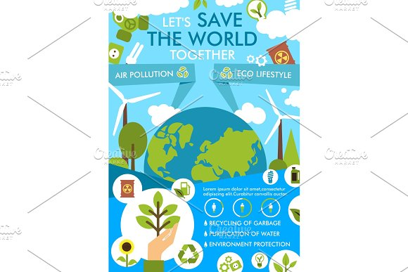 Environment And Ecology Protection Flat Banner