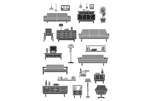 Home furniture, room interior accessories icon