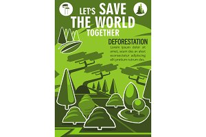 Save World banner for ecology nature protection