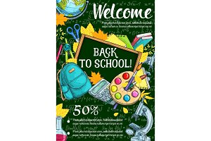 Welcome back to school sketch banner, sale design