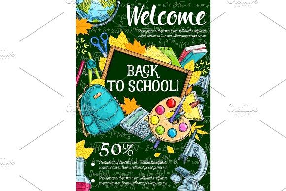 Welcome Back To School Sketch Banner Sale Design