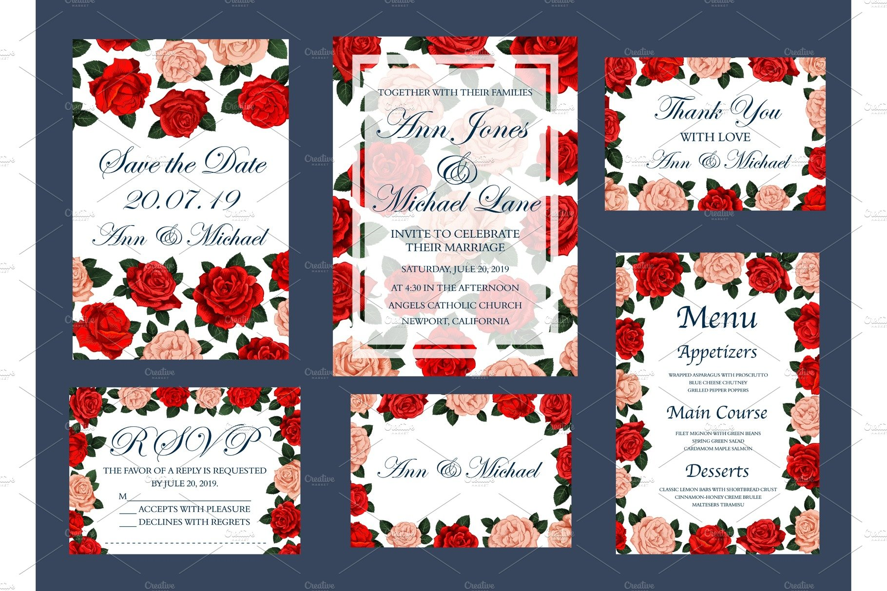 Save Date wedding vector cards and menu ~ Illustrations ~ Creative ...