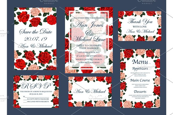 Save Date Wedding Vector Cards And Menu