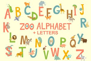 Zoo English Alphabet with animals+
