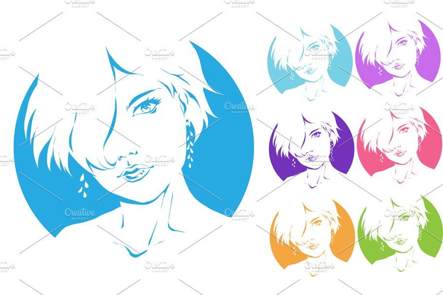 Logo woman silhouette, head, face ~ Logo Templates ~ Creative Market