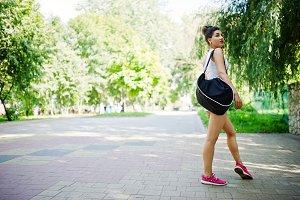 Sport girl wear on white shorts