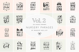 Hand Drawn Nursery Art 2 EPS PSD PNG