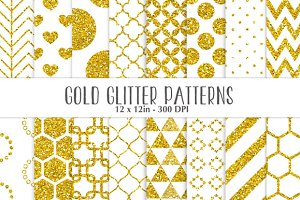 Gold glitter on white patterns