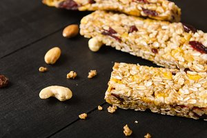 Muesli bar with nuts, berries