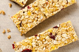 Granola bar with nuts, berries