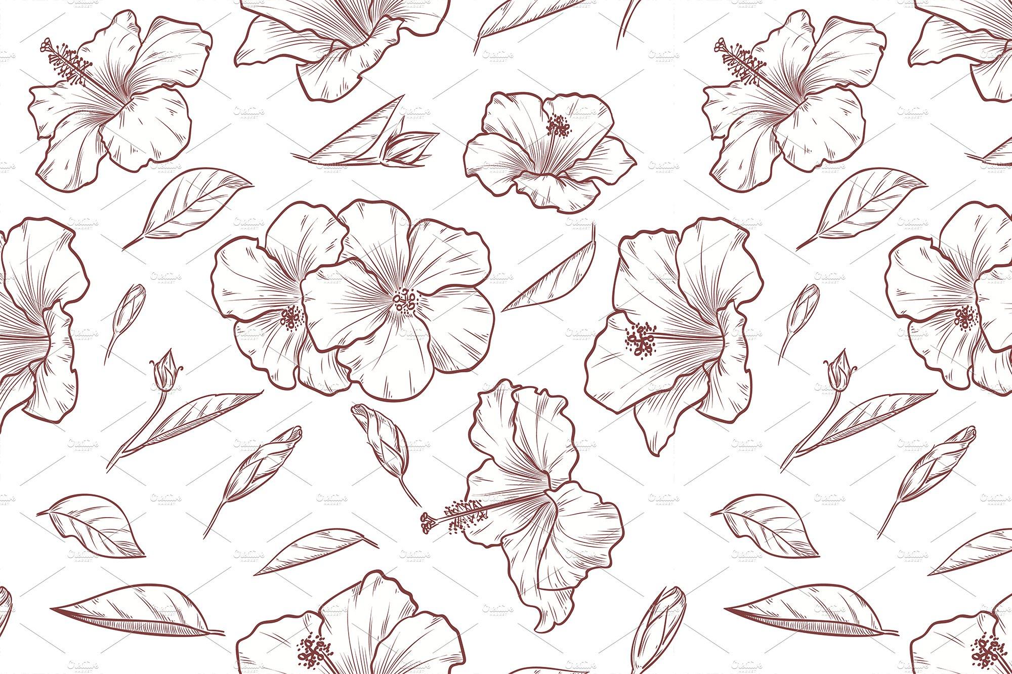 Hand drawn hibiscus seamless pattern patterns creative market izmirmasajfo
